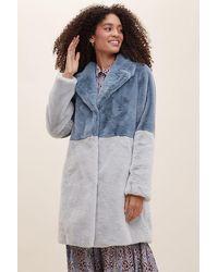 Anthropologie Colour Block Faux Fur Coat - Blue
