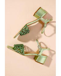 Anthropologie Woven-strap Leather Block Heels - Green
