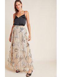 Geisha Designs Pleated Tulle-embroidered Maxi Skirt - Black