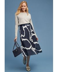 SELECTED - Abstract Pleated-midi Skirt - Lyst