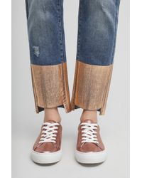 No Name - Leva Metallic Rose Gold Leather Trainers - Lyst