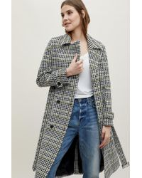 Anthropologie - Houndstooth Double-breasted Trench Coat - Lyst