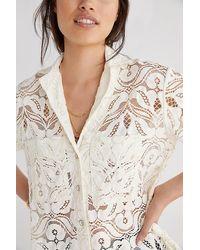 Maeve Lace Buttondown Shirt - White
