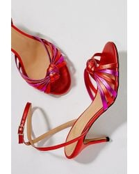 Anthropologie - Megan Knotted Metallic-leather Heels - Lyst