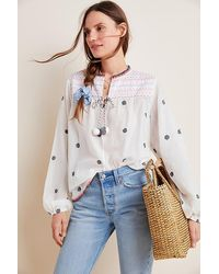 Conditions Apply Kelly Embroidered Peasant Blouse - White