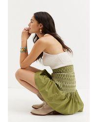 Maeve Smocked Mini Skirt - Green