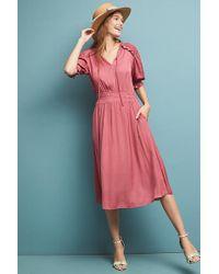 264c3f349304 Anthropologie Magdala Pleated Midi Dress in Red - Lyst