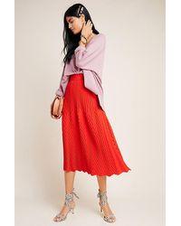 Anthropologie Anaca Chevron-pleated Skirt - Red