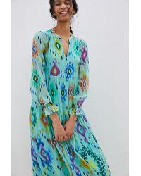 Anthropologie Norah Ikat Print Maxi Dress - Blue