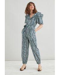 Anthropologie Mia Ruffled Printed Jumpsuit - Blue