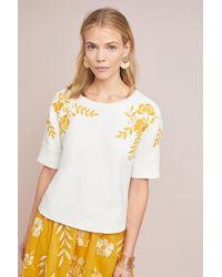 Maeve Janel Embroidered Sweatshirt - White