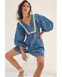 Anthropologie Lissa Printed Playsuit - Blue