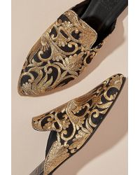 Anthropologie - Metallic Embroidered Mules - Lyst