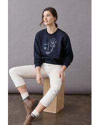 Maeve Visage Graphic Sweatshirt - Blue