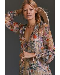 Anthropologie Floral Tiered Maxi Dress - Multicolour