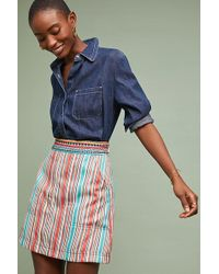 Anthropologie - Embroidered-waist Striped A-line Skirt - Lyst