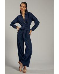 Anthropologie V-neck Tie-waist Jumpsuit - Blue