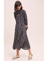 Anthropologie - Leopard Print Midi Dress - Lyst