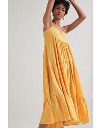 Kirei Textured Swing Midi Dress - Orange