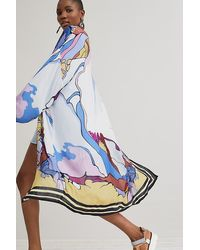 Bl-nk Abstract-print Kimono - Blue