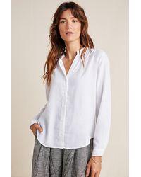 Cloth & Stone Smocked Chambray Shirt - White