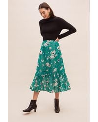 Anthropologie Lily And Lionel Floral-print Peplum Skirt - Green