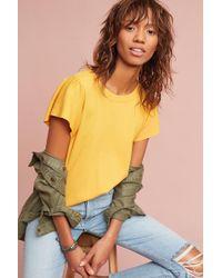 Everleigh - Mahlia Ruffled Top, Yellow - Lyst