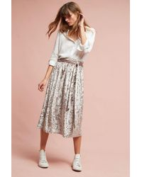 Seen, Worn, Kept - Kadife Velvet Skirt, Silver - Lyst