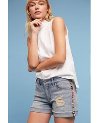 Pilcro - Hyphen High-rise Embroidered Shorts - Lyst