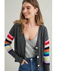ORWELL + AUSTEN Striped Cashmere Cardigan - Grey