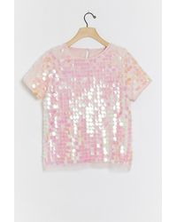 Anthropologie Belaflore Sequined Top - Pink