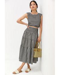 Maeve Gingham Skirt Set - Black