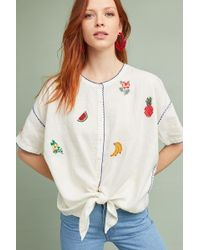 INTROPIA - Fruit Embroidered Top - Lyst
