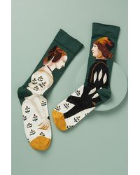 Bonne Maison King And Queen Print Ankle Socks - Green