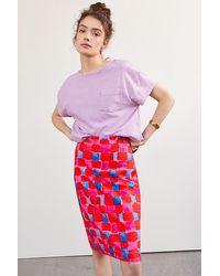Maeve Slim Knit Mini Skirt - Red