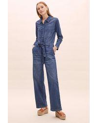 8d64939d82e SELECTED - Victoria Wide-leg Denim Jumpsuit - Lyst