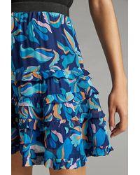 Maeve Tiered Floral Mini Skirt - Blue