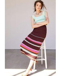 Maeve Crocheted Midi Skirt - Multicolour