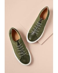 Anthropologie Croc Suede Trainers - Green