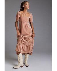 Anthropologie Velvet Empire Waist Midi Dress - Pink