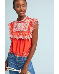 Anthropologie - Briar Embroidered Blouse - Lyst