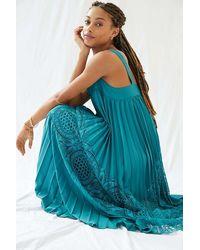 Geisha Designs Pleated Lace Maxi Dress - Blue