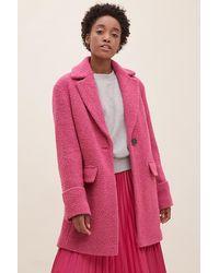 Anthropologie Yvette Boucle Coat - Pink