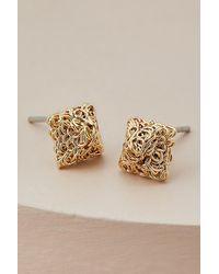 Anthropologie Square Gold Stud Earrings - Metallic