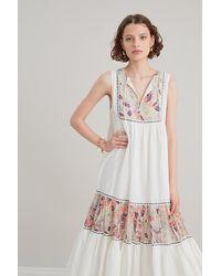 Anthropologie Shalini Sleeveless Midi Dress - White
