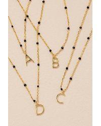 Anthropologie Beaded Monogram Necklace - Multicolour