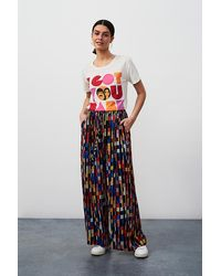 Conditions Apply Wide-leg Patterned Trousers - Blue