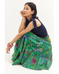 Maeve Tiered Asymmetrical Maxi Skirt - Green