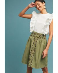Maeve - Embroidered Utility Skirt - Lyst