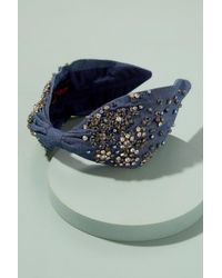 Anthropologie Kaja Embellished Denim Headband - Blue